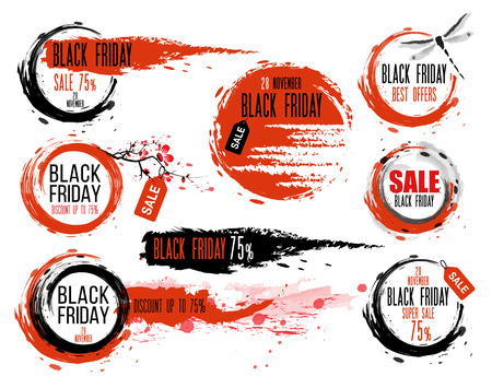 style: Black Friday sale Hand-drawn ink badges. Traditional Japanese style. Sale Tag. Special offer