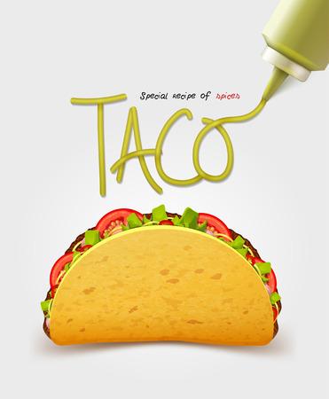 Vector Mexicaanse taco met vlees. Realistische inscriptie saus. Geïsoleerd