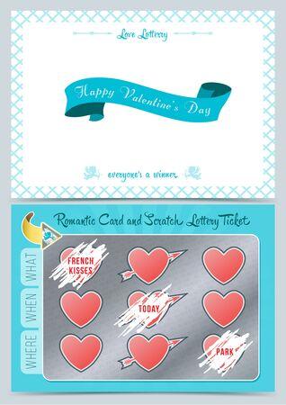 バレンタインの日宝くじスクラッチ カード。バレンタインデーのためのゲームのカード。  イラスト・ベクター素材