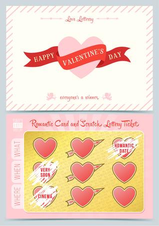 Valentijn dag Loterij kraskaart. Game kaart voor Valentijn dag.