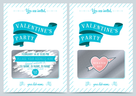 scratch card: Invitation Valentines Day. Lottery scratch card. Game card for Valentine day.