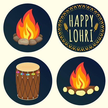 sikhism: Creative icons for Happy Lohri celebration. Happy Lohri Festival