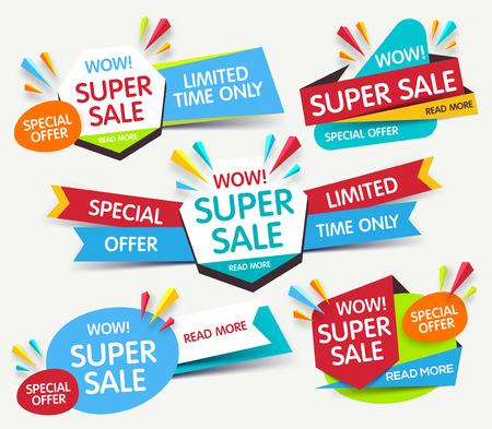 Super sale banner. Sale and discounts. Vector illustration