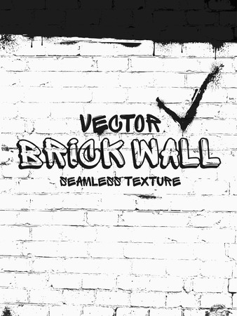 Brick wall seamless vector pattern. White grunge brick wall background