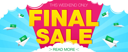 Final sale banner. Sale and discounts. Vector illustration Vettoriali