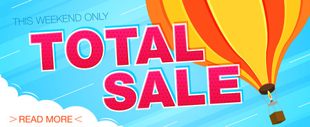 Total sale banner. Sale and discounts. Vector illustration Vettoriali