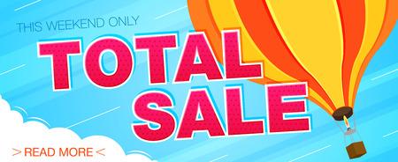 Total sale banner. Sale and discounts. Vector illustration Illustration