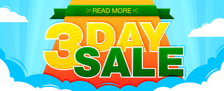 3 Day sale banner. Sale and discounts. Vector illustration