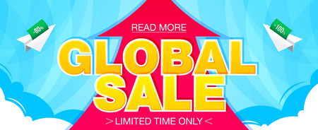 Global sale banner. Sale and discounts. Vector illustration