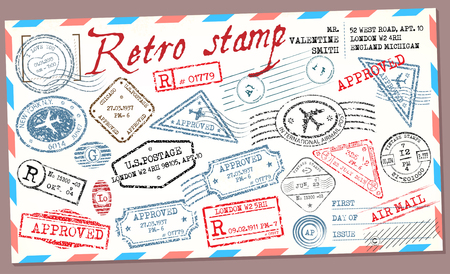 post stamp: Retro post stamp. Passport Stamps