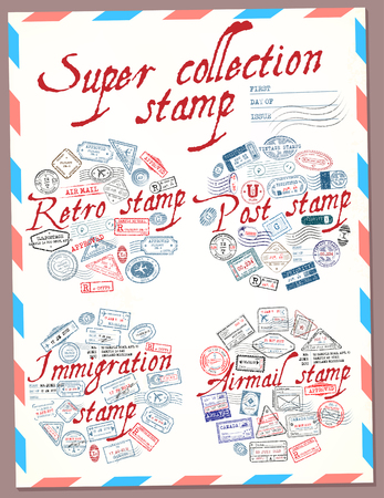 Super collection stamp. Retro, post, immigration and airmail stamp. Passport stamps. Vector illustration