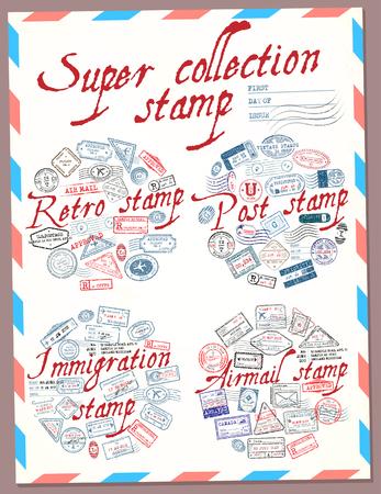 Super timbre de collection. Timbre rétro, poste, immigration et poste aérienne. Timbres de passeport. Illustration vectorielle Banque d'images - 61774183
