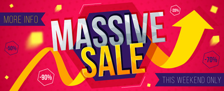 Massive sale banner. Sale and discounts. Vector illustration