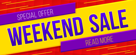 Weekend sale banner. Sale and discounts. Vector illustration