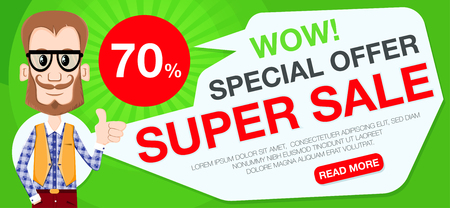Super sale banner with hipster. Sale and discounts. Vector illustration