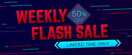 weekly: Weekly Sale and special offer banner on dark background. Sale background. Sale poster. Sale vector. Vector illustration. Illustration
