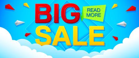 discount banner: Big Sale and special offer banner on a bright blue background. Sale background. Sale poster. Sale vector. Geometric design. Vector illustration. Illustration