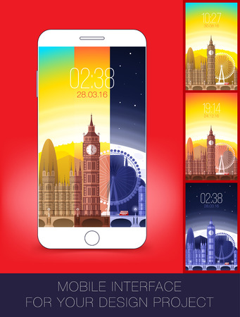 morning noon and night: Mobile interface wallpaper design with cityscape. Vector illustration. Eps 10