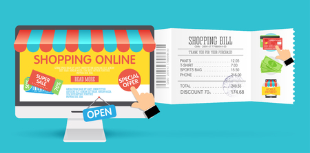 Online shopping concept with computer monitor and icons, flat design. Concept of online shop. Vector illustration