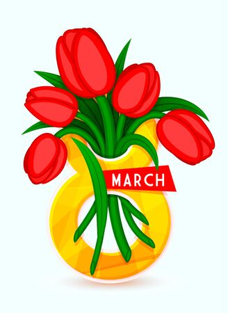 8 March, International Womens Day, eps 10. It can be used to greeting card template. Bouquet of tulips