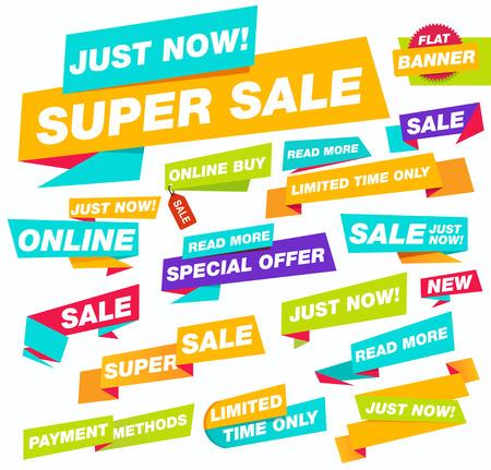 discount banner: Super sale flat banner. Sale and discounts. New online offer. Set of Website Banner.