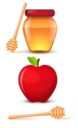 A jar of honey. Red apple. Spoon for honey. Isolated icons on a white background. Illustration