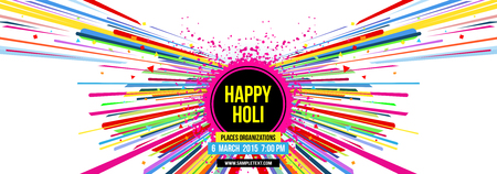 pichkari: Creative template for Indian festival Happy Holi celebrations with multi color splash and strips on white background. Beautiful Indian festival Happy Holi. Illustration