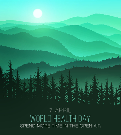 World Health Day, background with beautiful nature. Often spend time in nature and will be healthy Illustration