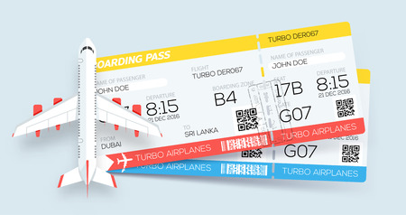 Airline boarding pass tickets. Booking tickets. Two tickets on aircraft. Web template Vettoriali