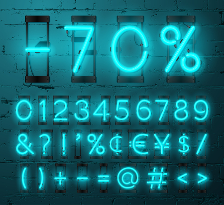 punctuation marks: Neon Light Alphabet Vector Font. Numbers and punctuation marks. Neon tube letters on Brick wall background