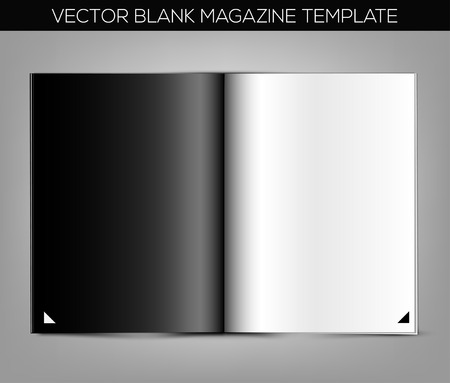 Blank magazine template on gray background. Vector illustration.
