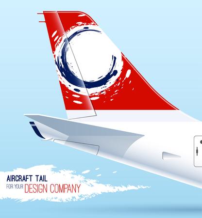 飛行機の尾。あなたのデザインのテンプレートです。航空機の尾