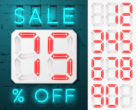 neon sign: Sale sign on a brick wall. Sale glowing neon sign.