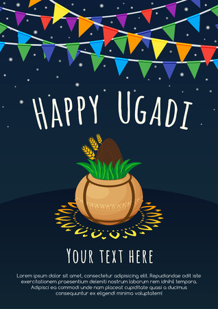 Happy Ugadi lettering with Kalash and rangoli on a dark background. Gudi Padwa Hindu new year. Ilustracja