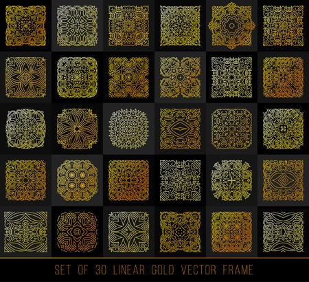 30 Linear design elements. Big set gold ornament for your design, flyer, promotion, application.