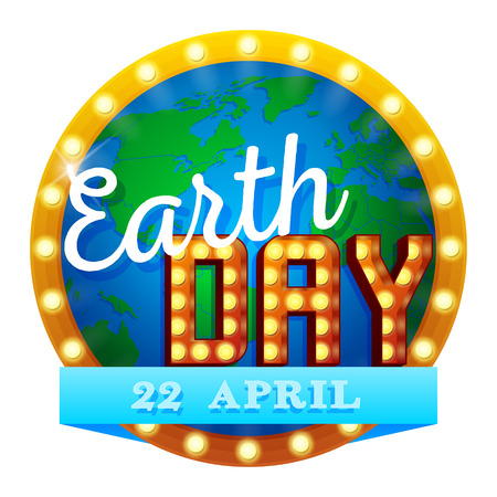 Earth Day. Vector illustration with Earth globe, Retro sign. planets EPS 10