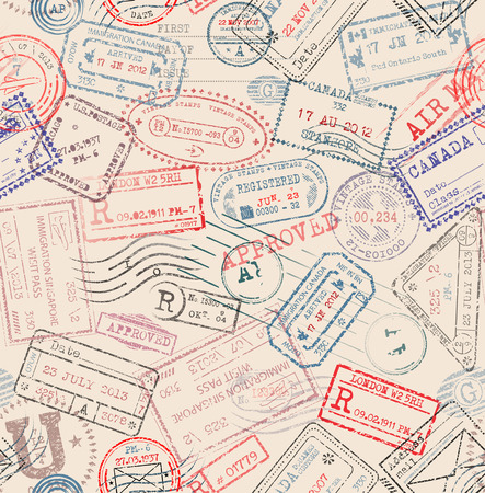 tiling: Seamless tiling postage themed pattern with vintage stamps