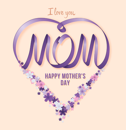 Happy Mothers Day. Vector Festive Holiday Illustration With lilac Ribbon Heart And Flowers Zdjęcie Seryjne - 62160375
