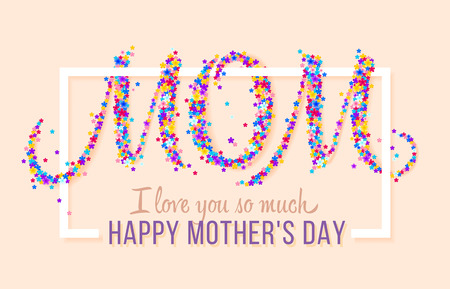 Happy Mothers Day. Vector Festive Holiday Illustration With Flowers