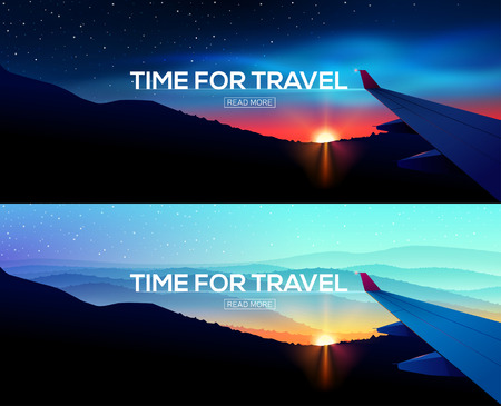 business trip: Web Banner with overlooking aircraft wing. Business trip. Time for travel. Web template.