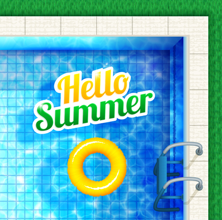rubber ring: Hello summer. Pool view from above with text and rubber ring.