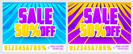 hangers: 50% off. Sale banner on colorful background. Sale poster. Geometric design. Super Sale and special offer. Vector illustration. Illustration