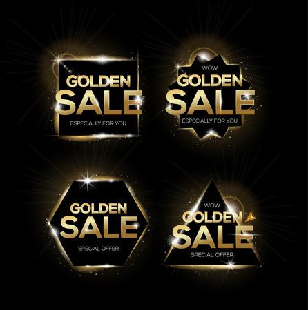sale tags: Golden sale labels. Shopping badges, for sale sign, discount, marketing. set of golden sale tags.