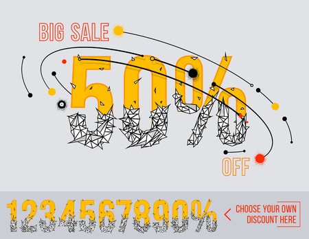 hangers: Big Sale with polygonal numbers. Super sale. Sale poster. Special offer. 50% off.