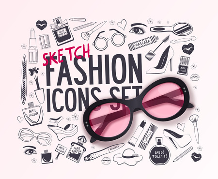 Set of fashion icons. Big vector fashion sketch set. Beauty and wellness items. Vector background for your design. Illustration
