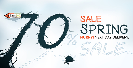 thaw: Spring Sale Banner, 70% Off, Hurry! Spring thaw, view from above.