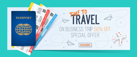 Special offer on business Travel. Business trip banner. Passport with tickets. Air travel concept. Business travel illustration. 50% off. Vectores