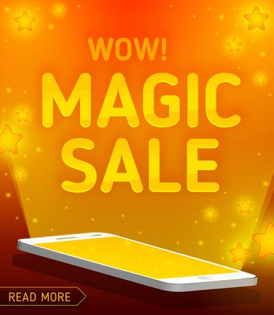 Magic sale with radiance from smartphone. Wow magic sale.