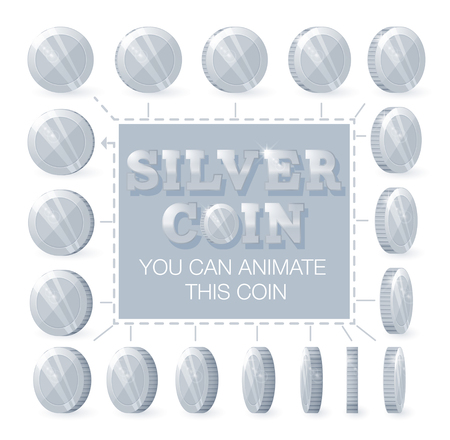 Coins rotation frames for web, game or app interface. Silver coins. Coins for animation.
