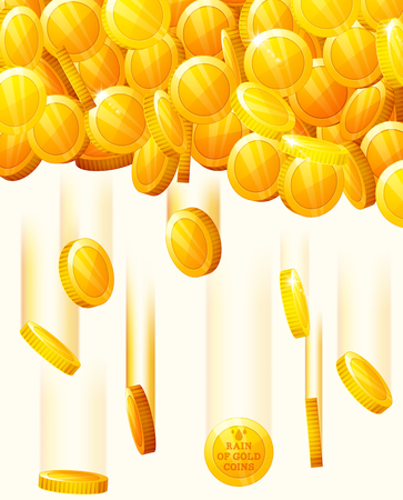 Vector background with falling golden coins. Rain from the golden coins. Money golden rain.